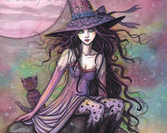 Enchanted Twilight - Original Watercolor and Mixed Media Painting by Molly Harrison - Witch Cat Halloween Fantasy Wiccan Wicca