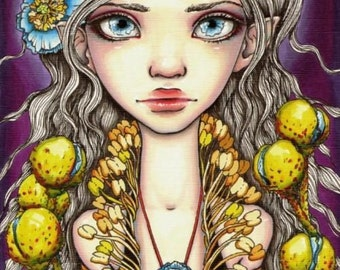 Blue poppy - surreal pop fantasy art flower fashion girl- 5x7 print of an original painting by Tanya Bond