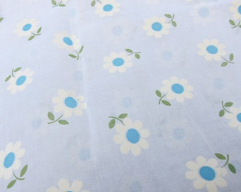 Vintage 60s Fabric Sheer Floral Light Blue White Flowers Flocked Mod Hippie 1 Yard 31 Inches