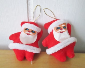 2 tiny vintage flocked santa ornaments