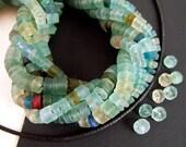 30 Tiny Ancient Roman Glass Heishi Beads, 2x3mm, Rustic MATTE, Bactrian Glass, Aqua Blue, Ancient Green, Excavation Bead EX14