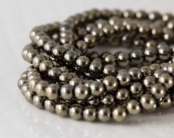 Dark Gold Pyrite Beads, Pyrite Smooth Round Bead, Full 8 inch Strand  - 4mm, Coated Dark Yellow Gold Gemstone Beads- Item 358B