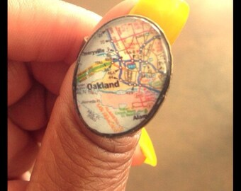 Oakland Map Ring - Extra Large Oval Dome Ring - Adjustable ring band sizes 5-9