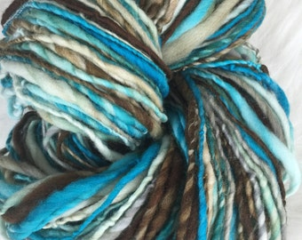Yarn Handspun - Mediterranean Breeze- superwash wool, crochet, knit, weaving, craft supplies, doll hair, supplies 140yds.