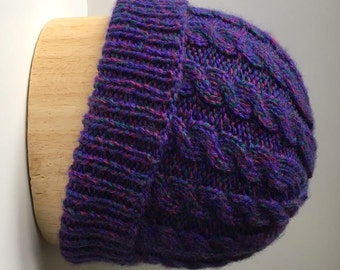 Handknit Cabled Cap in Purple Berry and Green Wool Blend