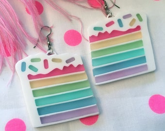 Pastel Rainbow Cake and Sprinkles Laser cut Acrylic Earrings