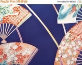 ON SALE Navy Blue Japanese Pattern silk Kimono Fabrie, Christmas Gift Idea as Craft Supply, Asian Textile