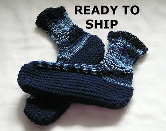 Mens Bedsocks Slippers, Navy and Mixed Blues, High Cuff Handknitted, Size 9 - 10