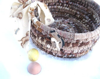 PUPPY BREATH   textile art tote EASTER BaSKeT