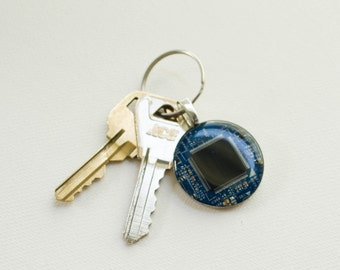 Blue Computer Chip Keychain - Geeky Gift - Recycled Circuit Board Keychain - Technology Gift