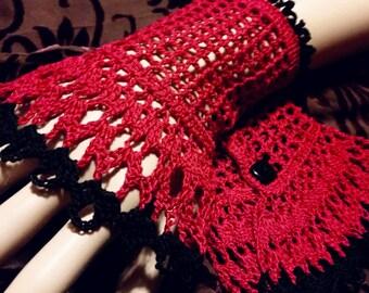 Black Red Victorian Steampunk Victorian Noir Gothic Crochet Lace Wrist Cuffs Halloween