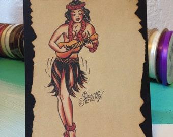 Sailor Jerry Hula Girl Birthday Card