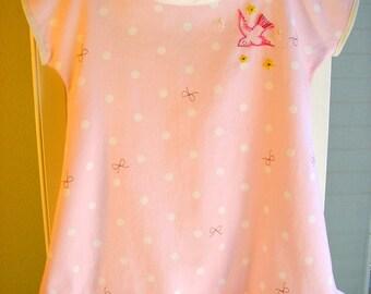 Pink Bird Cotton Dress, Size 1-2