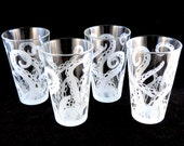 Embracing Tentacles 16 oz Pint Glass Set  - Etched and Painted Glassware - Ready to Ship