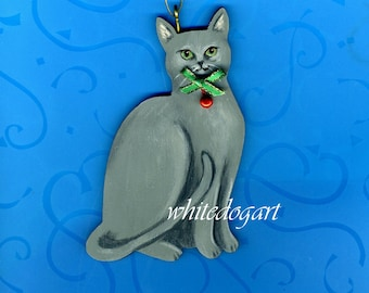 Handpainted Gray Cat Christmas Ornament