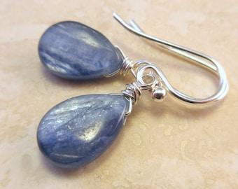 Blue Kyanite Teardrop Earrings, Briolette Earrings, Teardrop Dangle Earrings, Sterling Silver Earrings