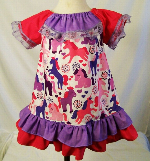 Baby Girls Dress Unicorn Little Girls Baby Girls by togs4tots