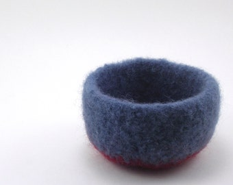 Felted wool bowl - mini felt bowl - color block bowl - steel blue and burgundy