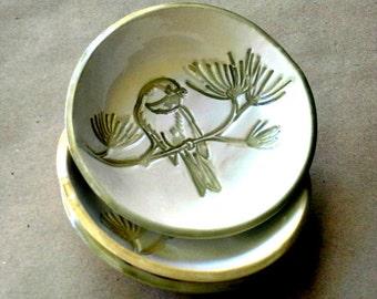 THREE Ceramic Sage Bird Prep Bowls Organic Shape