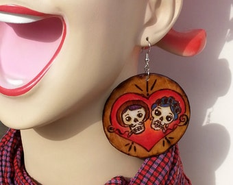 Mi Amor  Calvera Wood Burned Earrings
