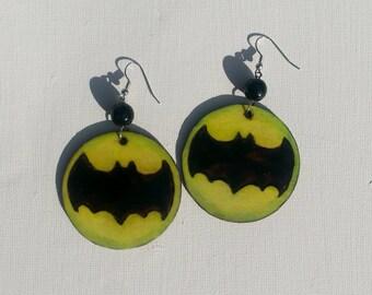Chartreuse Batman Emblem Earrings Wood burned