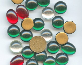 Lot (24) Large OVAL ROUND Cabochons Vintage  Rhinestones Red Green Clear glass  15 mm 12 mm 18 mm Gold Foil Flat Back 2072
