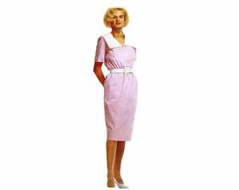 1990s Womens Front Button V-Neck Dress McCalls 4845 Vintage Sewing Pattern Misses Full Figure Size 14-16-18 Bust 36-38-40 UNCUT
