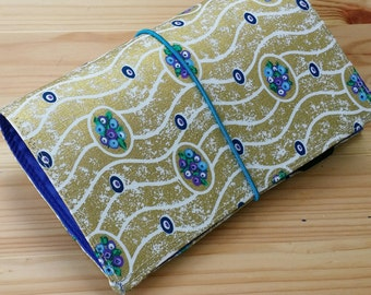 Gold Fabric Fauxdori   Fabric Travelers Notebook  Small Fauxdori water resistant lining