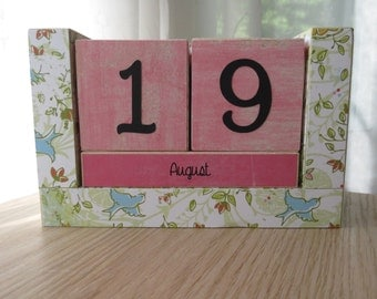 Perpetual Wooden Block Calendar - Little Blue Birds