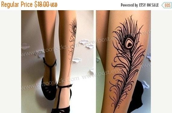 15%SALE/endsAUG30/ PEACOCK Feather Tattoo gorgeous thigh-high stockings Light Mocha
