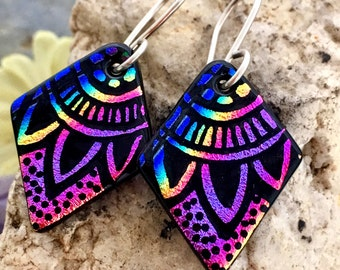 SMALL Mandala Hand Etched Dichroic Earrings Fused Glass & Sterling Silver Handmade Wires RAINBOW