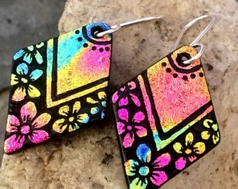 Pretty Hand Etched Flower Earrings Dichroic Fused Glass with Sterling Silver