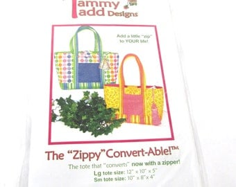 Tammy Tadd Designs Zipper Convertable Tote Purse  Bag Pattern