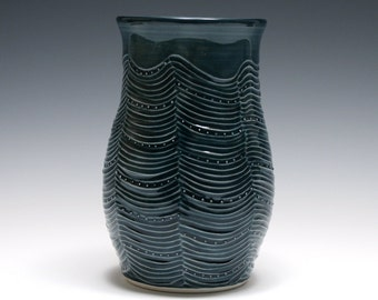 Dark Blue Vase with Wavy Carved Lines and Dots