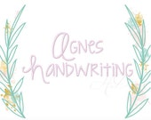 "3"" inch Modern Handwriting Script Machine Embroidery Monogram Font KG Strawberry Limeade Instant Download Agnes  BX instant download"