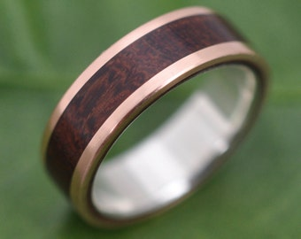 Rose Gold Wood Ring Lados Nacascolo - ecofriendly wood wedding band, 14k red gold exterior with sterling interior