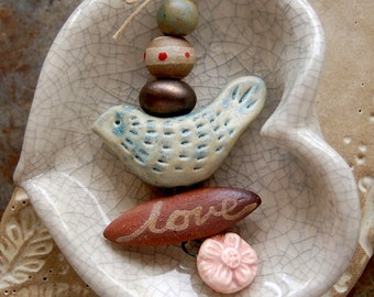 Love Bird / Ceramic Bird and Daisy Bead Set