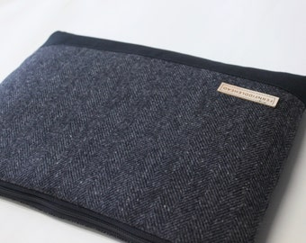 Laptop Case, Husband Gift Surface 3 or Surface Pro 4 Sleeve, Surface Book Cover Laptop Sleeve - Gray Herringbone Wool