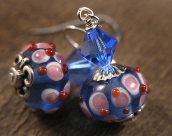 Red, white, blue and pink lamp work glass, swarovski crystal and silver handmade earrings