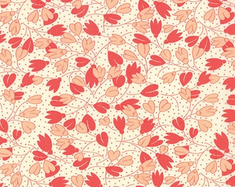 Strawberry Fields Revisited - Spring Drops in Strawberry: sku 20266-14 cotton quilting fabric by Fig Tree for Moda Fabrics - 1 yard