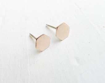 Gold Honeycomb Studs Hexagon Earrings Beehive Jewelry Gold Geometric Stud Earings Gold Filled Studs