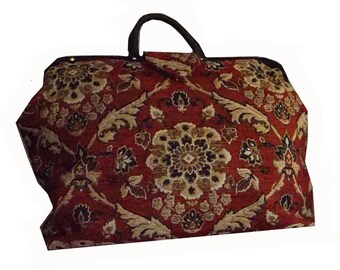 Burgundy, Camel & Black Floral Medallion Chenille Tapestry Carpet Bag