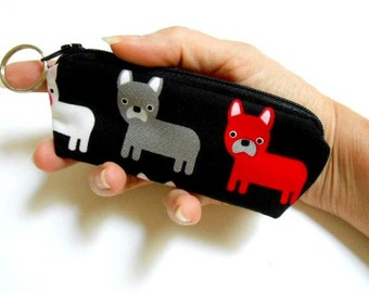 Mini Key Chain Zipper Pouch ECO Friendly Padded Lip Balm Case NEW Frenchie Pups