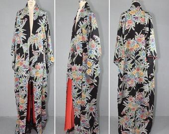 vintage kimono / silk robe / NIGHT BLOOM vintage dressing gown
