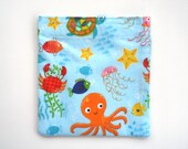 Reusable Snack Bag, Sandwich Bag, Octopus, Crab, Sea Life for little girls, Kid's Lunch Bags, Zero waste lunch