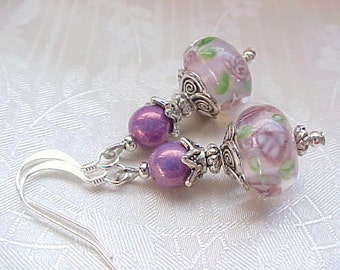Jewelry Gifts for Women Floral Lampwork Earrings Flower Rose Pink Mauve Earrings Victorian Pink Earrings Antique Pink Lampwork Glass Beads