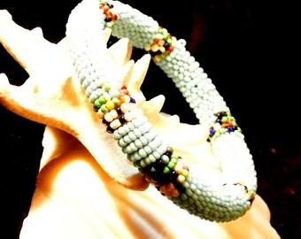 Beaded Crocheted Bangle Bracelet, Light Blue Crocheted Bracelet, 1980 Beaded Bracelet, Christmas Gift