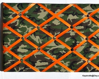 Green Camouflage Memory Board, Camouflage French Memo Board, Camo Fabric Ribbon Bulletin Board, Fathers Day Gift Green Camo Ribbon Pin Board