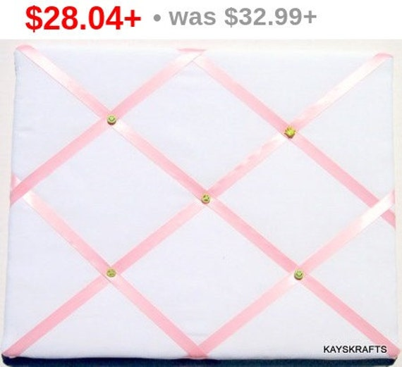 Back To School White And Pink Memory Board French Memo Board, Fabric Photo Board, Fabric Ribbon Memo Bulletin Board, Ribbon Pin Board,  N...
