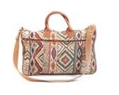 Vintage Tribal Tapestry Leather Laptop Bag